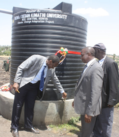 Prof. Ndirangu Kioni VC DeKUT and Prof. G. Wahungu DG NEMA during project handover ceremony 2
