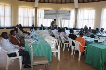 The Vice Chancellor Prof Kioni at the launching of a US AID funded research project at the University