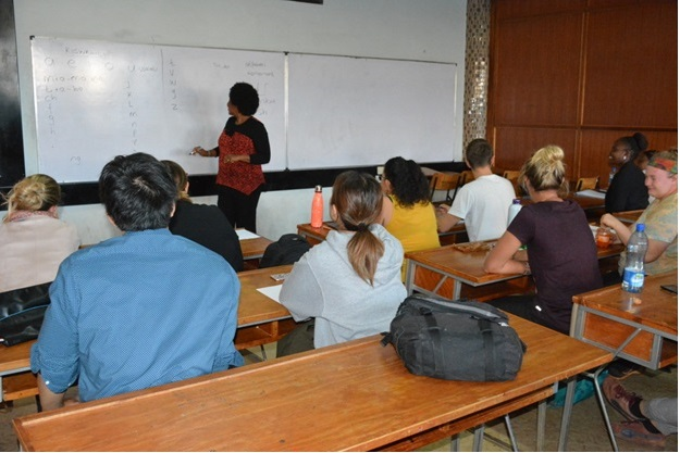 exchange students in a basic kiswahili class
