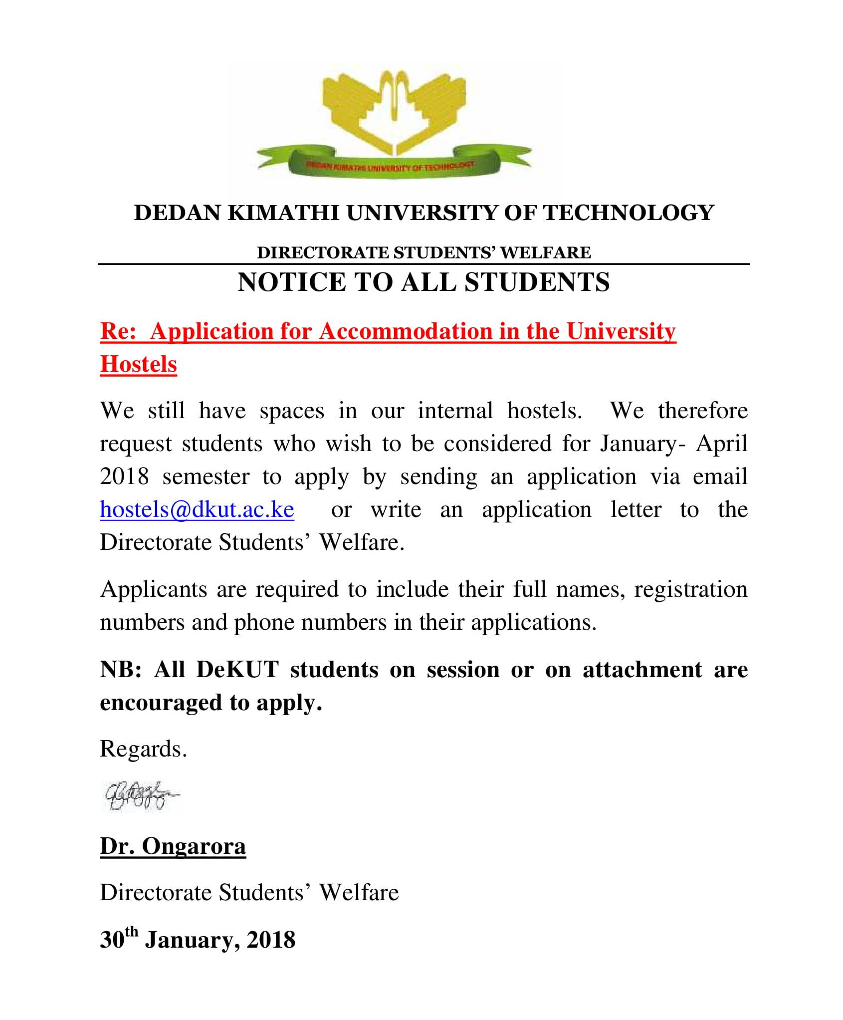 notice internal accomodation feb 2018